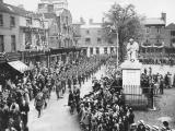 Parade past Johnson's Statue, Market Street, Lichfield