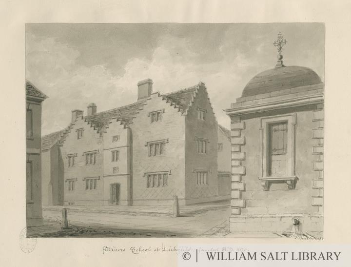 Lichfield - Minors' School: sepia drawing