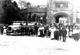Stoneleigh.  Charabanc and People in front of Gate