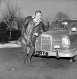 Nuneaton.  Alan Randall standing beside his Mercedes