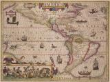 Jodocus Hondius, America, 1619 Map of the Americas - whole map, hand-coloured.